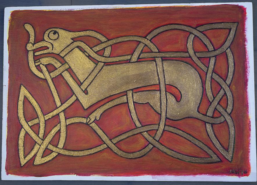 Celtic Dog, Acrylic on Wood