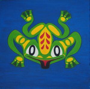 Totem Frog, Acrylic on Wood