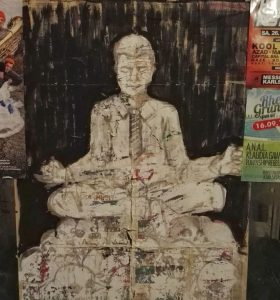 Grafiti David Bowie meditating