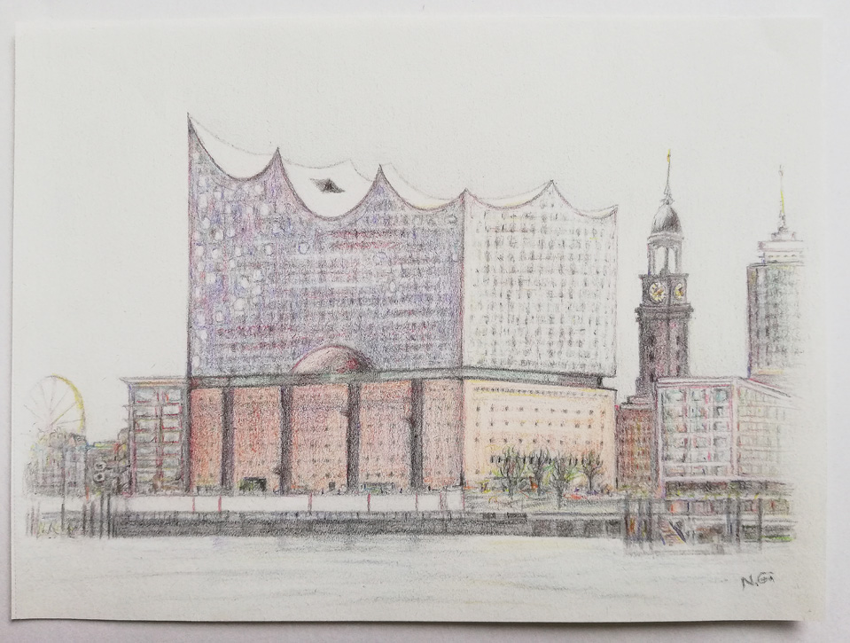 Zeichnung Elbphilharmonie