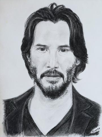 Portrait Keanu Reeves by Gina Janosch