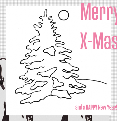 Xmas Card Collage & Drawing