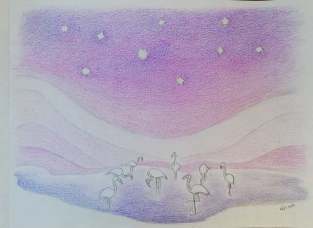 Flamingos under the Pink Sky